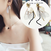 Wholesale Feathered wings tassel earrings long ear wire earrings temperament of the female character joker earrings earrings