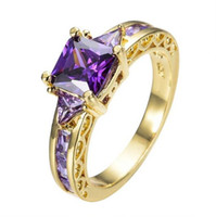 american ring company - Fashionable purple crystal lighting company zircon ring gold blue squares with valentine s day wedding ring for women