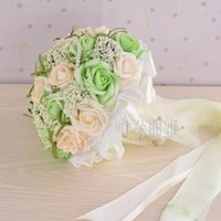 april beautiful - 3 Color Beautiful Wedding Bouquets inch Height Bride Holding Flowers Custom Artificial Wedding Bouquets with Foam