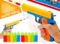 Wholesale Children s plastic semi automatic toy pistol with luminous soft bullets can be even fired simulation model catapult toy gun