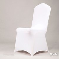 achat en gros de chaise de mariage couvre la chine-100pcs NOUVEAU Hotel Lycra Stretch Party Chair Covers White Polyester Spandex Wedding Chair Cover De China Factory 2017 20170629 #