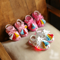 Wholesale Fashion Princess Girls Shoes Children Shoes Light Shine Tassel Sandals Baby Girl One Strap Button Bow Girl s Plastic Sandals Shoes A6555