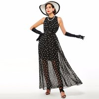 Wholesale Fashion Women s polka dots Maxi dress long Casual Summer Beach Chiffon Party Dresses style cheap vestidos de festa