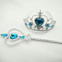 american express blue - FedEx Express Factory Children Cartoon Frozen Anna Elsa cosplay Crown Tiaras Party Accessories Magic Wand sticks Crown