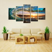 More Panel Digital printing Fashion 5 Pieces Rolling Wave Painting Seascape Canvas Painting Wall Art Picture Print Giclee Artwork with Wooden Framed For Home Decor
