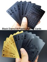 Wholesale Plastic Black Diamond Gold K Playing Cards With Wooden Gift Box High Tenacity Water Proof Luxury Businese Gift Great Collection Gift