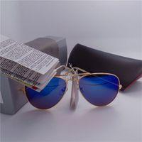 Wholesale High quality Brand Designer Fashion Mirror Men Women Polit Sunglasses UV400 Vintage Sport Sun glasses With box and cases
