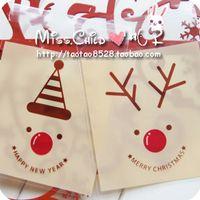Wholesale cm OPP Christmas series elk big self adhesive bread Candy and Cookie packing bags diy Gift packaging Bag BZ143