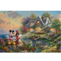 Wholesale Micke and Minni Sweetheart Cove by Thomas Kinkade Dreams Painting Prints on Canvas Wall Art Picture for Living Room Home Decorations mmshc