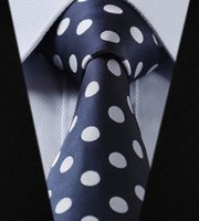 Wholesale TD2001V8 Navy Blue Polka Dot quot Silk Wedding Party Jacquard Woven Classic Men Tie Necktie