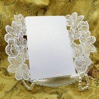 Wholesale New Wedding Invitation Card White Damask Flower Silk Ribbon Party Birthday Laser No Envelope No Blank Inner Sheet