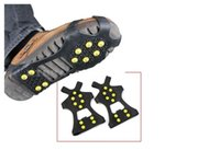 Wholesale Steel Sole Shoes - hot Ice Grips Traction Cleats Shoe Boot Anti Slip Outdoor Durable 10 Steel Studs Stretchable Prevent Slipping ice snow Crampons Footwear