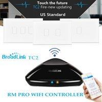 Wholesale Broadlink RM PRO TC2 Touch Light Wall Switch Gang US Std Smart Home Automation Universal Remote Controller WIFI IR RF