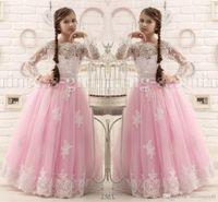 Wholesale Hot Pink Floor Length Flower Girl Dresses Long Sleeves Appliques Pageant Dresses for Little Girls Cheap Custom Made