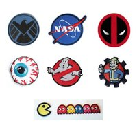 Wholesale NASA Shield MISHKA Patch Sew or Iron on Garment Deadpool GHOSTBUSTERS Thumbs Up Brotherhood Pac man ghosts Embroidered DIY Badge