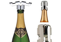 Wholesale Champagne Stopper Wine Sparkling Funnel Wedding Bar Wine Stopper Bottle Stopper Plug Sealer Pourers Creative Stainless TOP1549