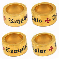 Wholesale Stainless steel mens wemens jewelry free masonary Gold plating knights templar cross masonic ring gift for brothers sisters