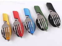 Wholesale Outdoor camping portable Fork knife tableware tools Stainless Steel in1 Multi Function Folding Spoon Fork knife Travel sets