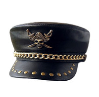 Wholesale Motorcycle Club Genuine Leather Hat Punk Rock Show Rivet Navy Hat Skeleton Pirate Badge Sheepskin