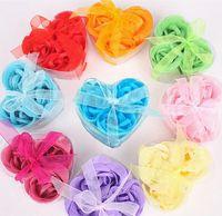 Wholesale 3 Pieces Heart Shaped Box Rose Soap Flower Romantic High Imitation Bath Soap Flower Wedding Gift