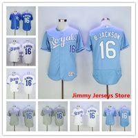 Wholesale Bo Jackson Jersey Hot Sale Mens Kansas City Royals baseball Jerseys Flexbase Coolbase Throwback Blue White Grey
