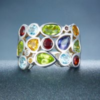 anillos genuinos de la plata esterlina de la piedra preciosa al por mayor-Hutang Genuine Multi-color Gemstones Sólido 925 Sterling Silver Cluster Anillo Para Mujer Joyería al por mayor