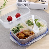 Wholesale Fashion Lunch Box Include Spoon Food Container Handle Sets PP Bento Singel Layer TableWare High Quality Dinnerware