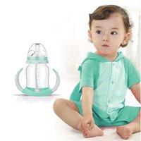 Grossiste-180ML Baby Brand Soins infirmiers Dual Function Juice lait alimentation bouteille Apprenez à boire de l'eau Paille bouteille Cup avec poignée