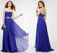 Wholesale Strapless Open Side Prom Dresses - 2017 Cheap Strapless Prom Dresses Purple Color Pleats Draped Tiered Crystal Beaded Sexy Open Back Formal Party Dress Evening Gowns Fashion