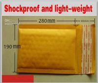 La venta caliente 190m m X 280m m + 40m m PE empaquetó el envío libre del embalaje del amarillo del bolso del sobre del correo de Kraft Envío libre