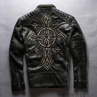 achat en gros de xxl estampage-2017 Stamped Criss-Cross vintage afliction véritables vestes en cuir moto hommes vestes vente