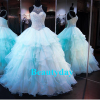 achat en gros de organza sheers-Princess Ball Gown Aqua Robe Quinceanera 2017 Sweet 16 Robes Beigned Sequins Robes Déguisements Chemisier Plus Size Vestidos De 15