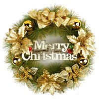 Wholesale cm door act Christmas Wreath red and gold colour for Christmas holiday decoration gifts
