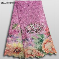 Wholesale High Quality African Lace Fabric For Wedding dress Embroidered France mesh Lace Fabrics Nigerian Guipure Cord Lace lace NA611RF089