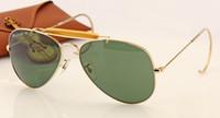 al por mayor gafas de sol de piloto negro-Las mujeres de calidad superior diseñan las gafas de sol clásicas del diseñador de moda la lente verde del negro del oro del metal del metal 58m m