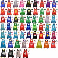 Wholesale Double side Superhero kids Capes and masks yoda Knight chewbacca Patrol catwoman Hydra Daredevil capes with mask for Children s Cosplayero