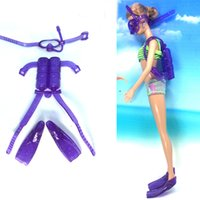 best glass equipment - NK One Set Doll Diving equipment Accessories Plastic oxygen tank Swimming Glasses Feets For Barbie Doll Girl Birthday Best Gift