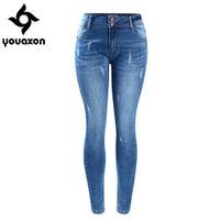 Button basic style jeans - Youaxon Women s Basic Chic Style Fading Stretch Skinny Ture Denim Jeans Woman Pantalon Femme
