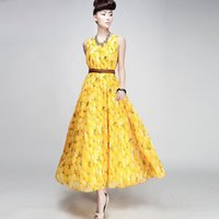 sundresses - Dress Long and Ground Wave Bohemia New Printing Flowers Yellow Peach Fruit Sundress Loose Spring Summer
