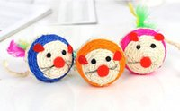 Wholesale 2016 s new arrival high quality healthy cat toy mouse ball cat toy sisal ball cat toy large spot with colors drop shipping