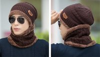 acrylic chenille yarn - Men s outdoor winter hat cap Korean thick warm knitted hat and cashmere turtleneck Winter Hat