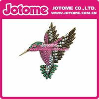 Wholesale 100PCS China Vintage Beautiful Multi color Hummingbird Rhinestone Crystal Bird Brooch Pin Bronze Tone