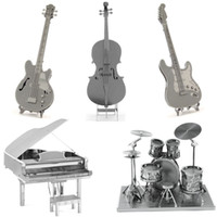 Wholesale Musical Instruments D Metal Puzzle DIY Stainless Steel Assembly Model Toy Magnetic Kids Toys Electric Guitar Cello Bass Puzzle