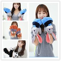 Wholesale Woman Winter Fluffy Rabbit Fox Panda Plush Paw Claw Glove Novelty soft Girls Full Fingers gloves mittens Valentine s Day X mas Gift