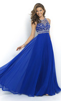 amazon images - Sapphire blue highneck prom dress fast selling Amazon chiffon bride wedding dress H30