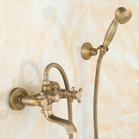Wholesale Quality Brass Fashion Bathroom Shower Sets With Faucet Lift Water Saving Shower Head European Antique Style