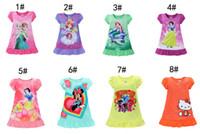 Wholesale DHL8 Styles Mermaid Frozen Sofia baby girls pajamas nightgown Cotton Cartoon Ruffle hem extra comfy clothes children dresses Kids clothing