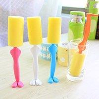 Wholesale Gentlemen Shape Long Handle Thermal Insulation Milk Bottle Brush Cup Brush Wineglass Cup Mug Brush With Sponge Head Easy Clean