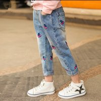 Wholesale new children girls cherry embroidery light blue washed jeans children s casual pants NM