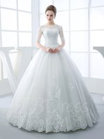 Wholesale 2016 Elegant White Bridal Gown Half Sleeve Scoop Neck Appliques Beading Ball Gown Hollow Long Wedding Dress
